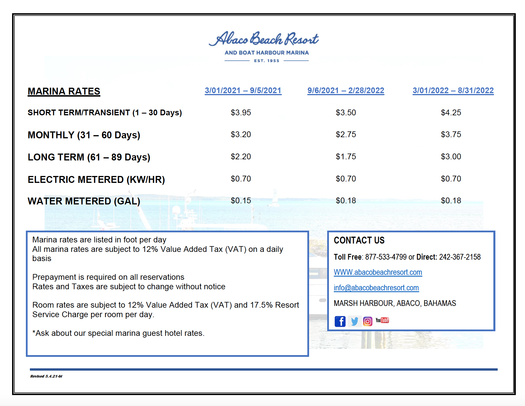 Abaco Beach Resort Marina Rates